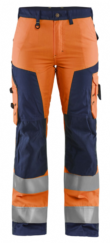 Blaklader 7155 Ladies High Vis Work Trousers without Nail Pockets (Orange/Navy)